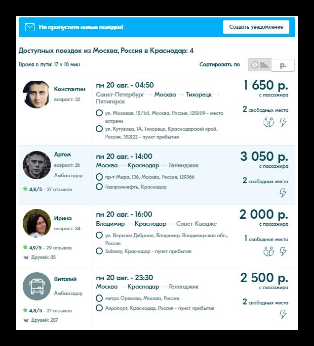 Список доступных поездок на БлаБлаКар Москва-Краснодар
